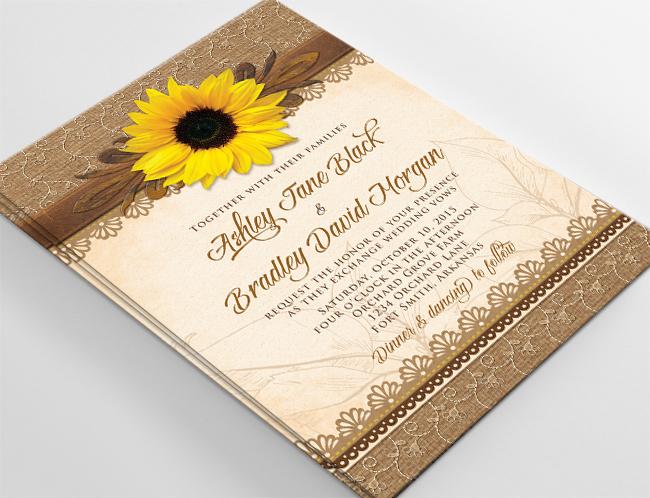 3ae4dcd05682 Rustic Sunflower Burlap Lace and Wood Wedding Invitation