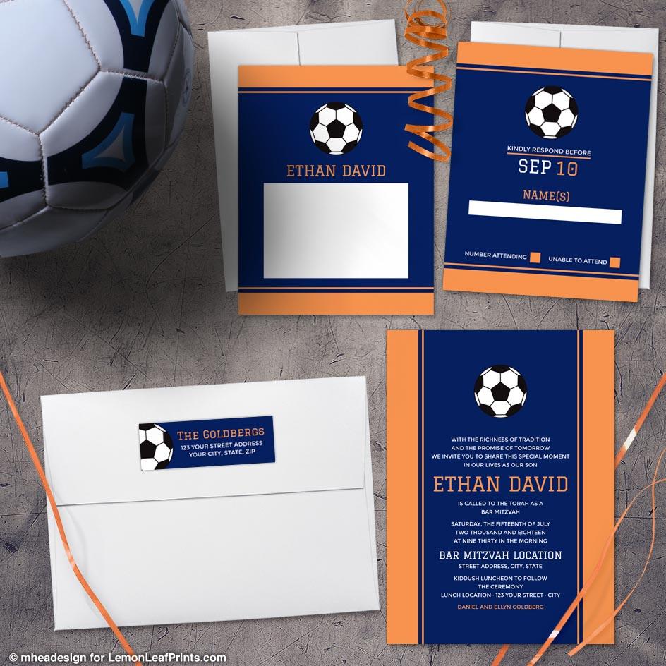 Navy Blue Orange Modern Soccer Bar Mitzvah invitation set