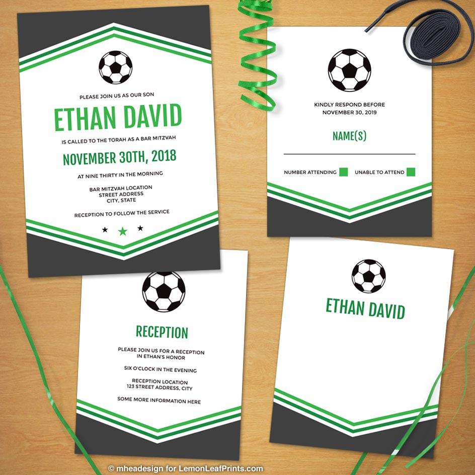 Modern Simple Green Gray Soccer Bar Mitzvah Invitation Set