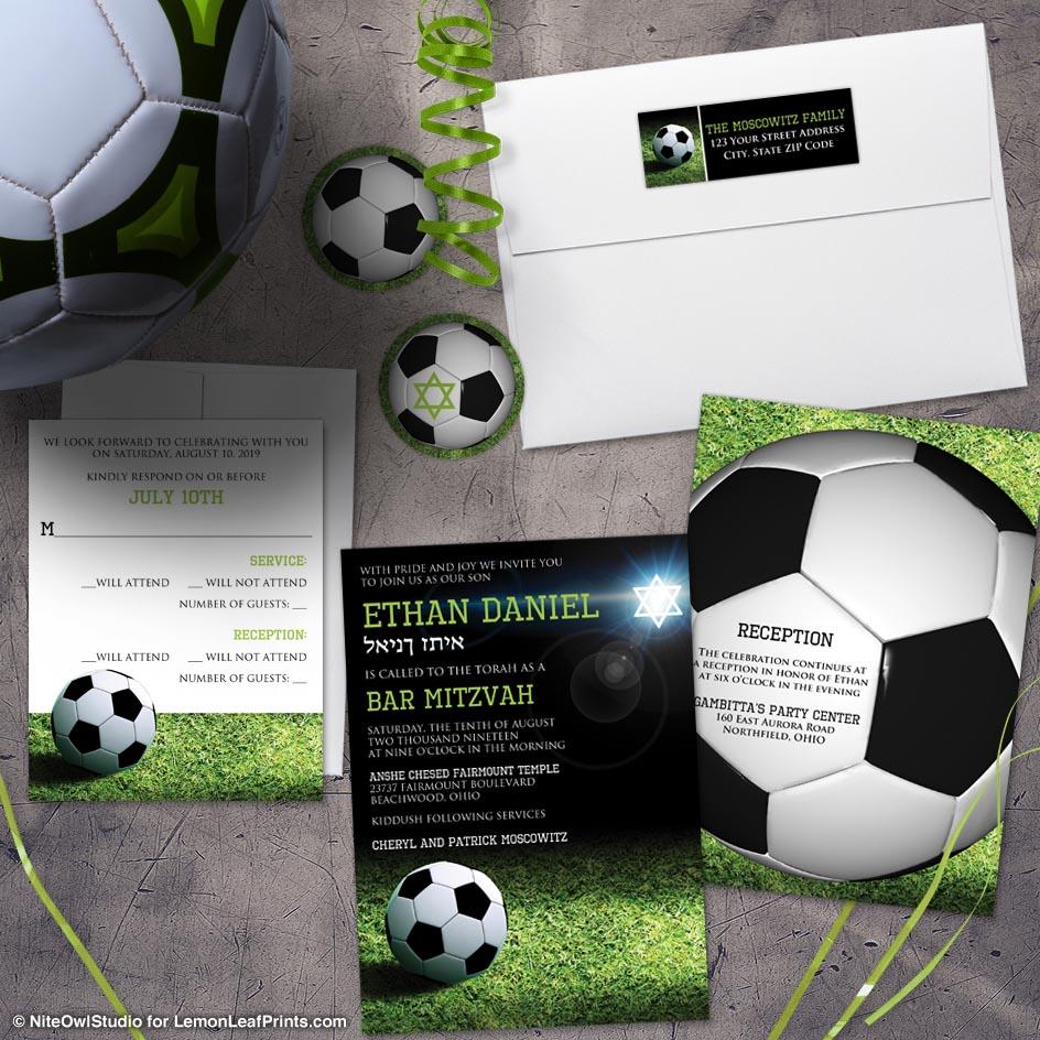 grass soccer ball green black what soccer Bar Mitzvah invitation