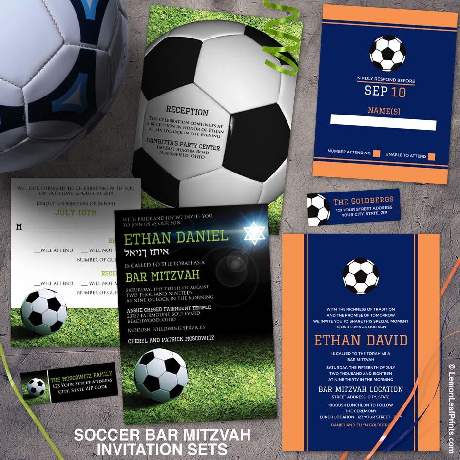 World Cup soccer bar mitzvah invitation suites from Lemon Leaf Prints