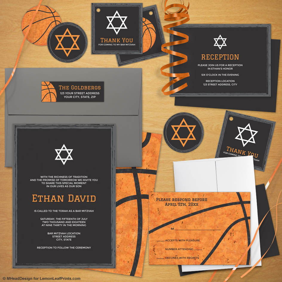 Basketball Bar Mitzvah Invitation Suites