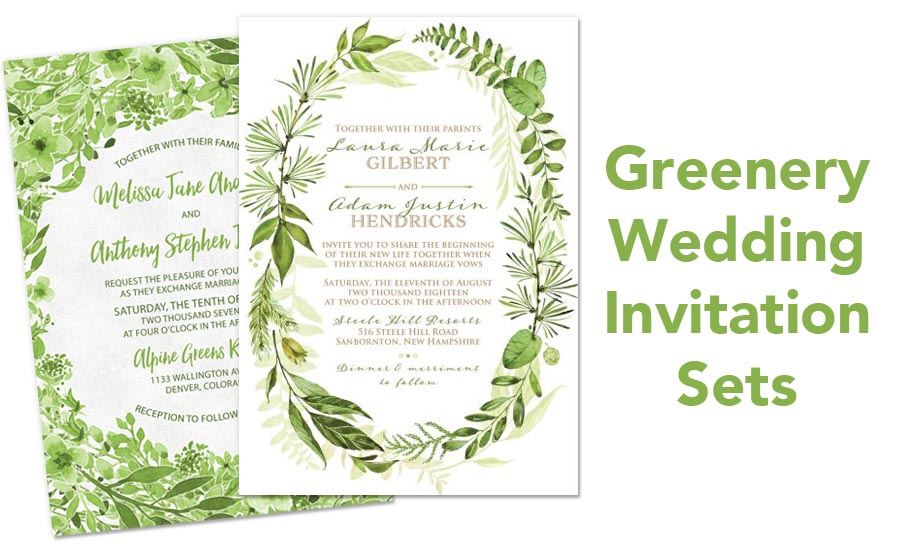 Botanical Greenery Wedding Invitation Sets from Lemon Leaf Prints