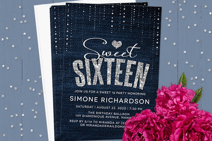Sweet 16 invitation wording denim and diamonds sweet 16 party invitation stopboris Gallery
