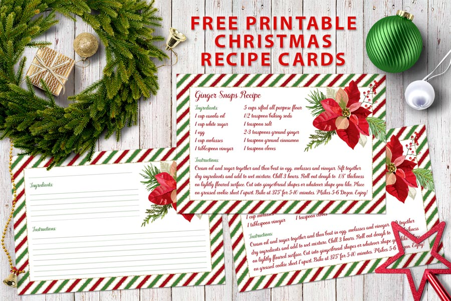 picture relating to Printable Christmas Recipe Cards called Free of charge Printable - Xmas Recipe Playing cards