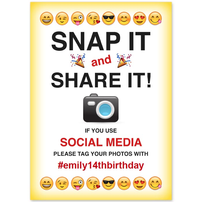 free printable emoji themed social media sharing sign