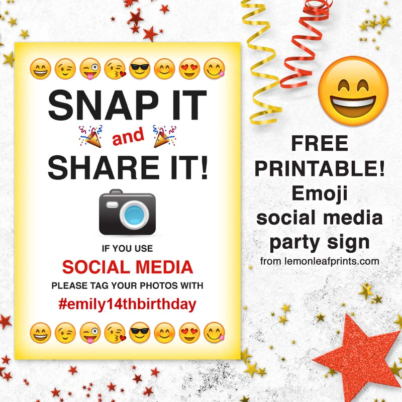 free printable emoji social media party sign
