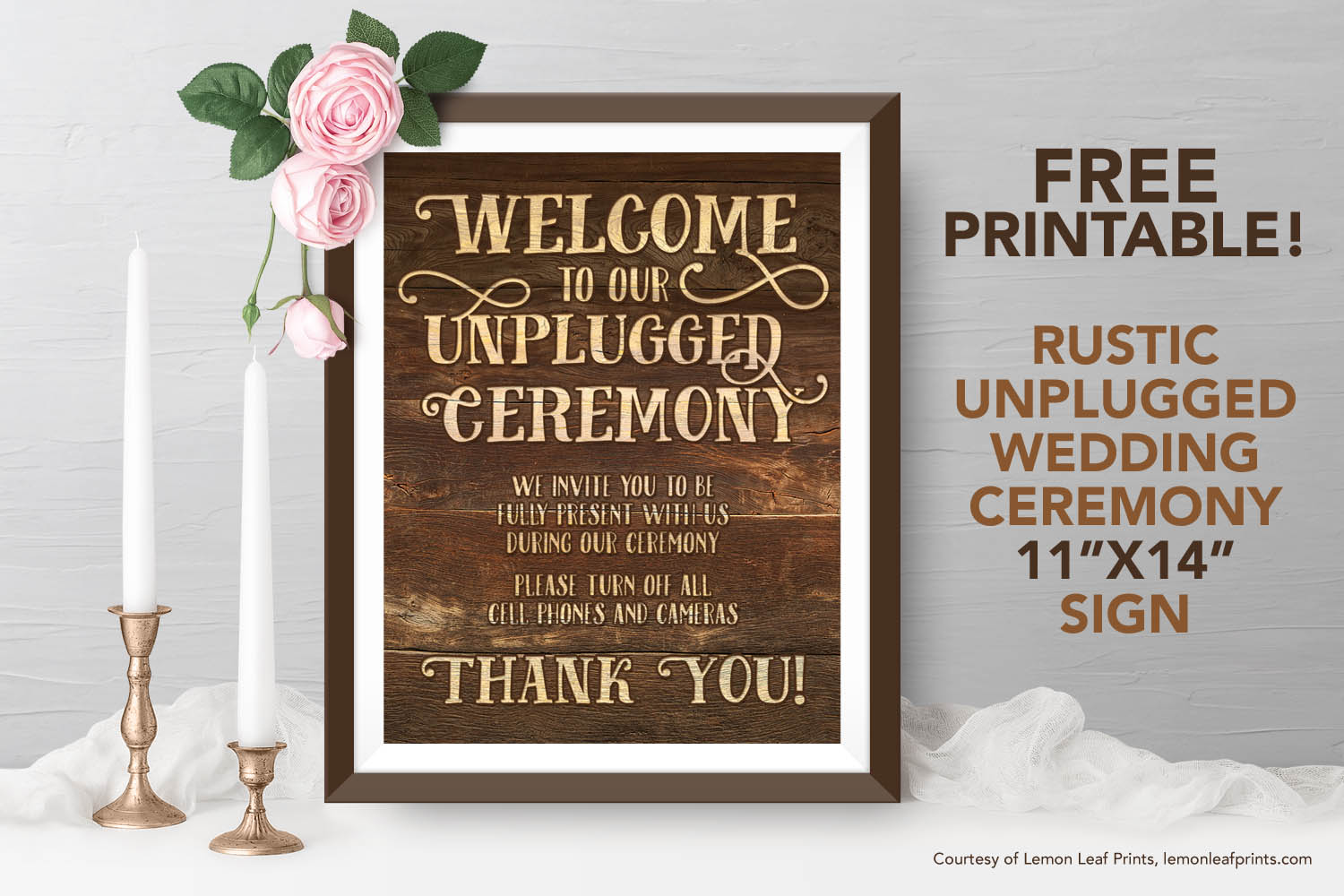 photograph regarding Wedding Sign Printable referred to as Free of charge Printable - Rustic Unplugged Marriage ceremony Rite Indicator