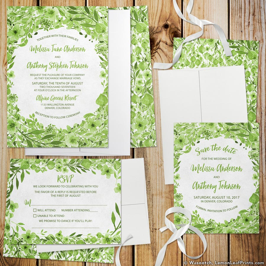 Botanical Watercolor Foliage Greenery Wedding Invitation Set from Lemon Leaf Prints