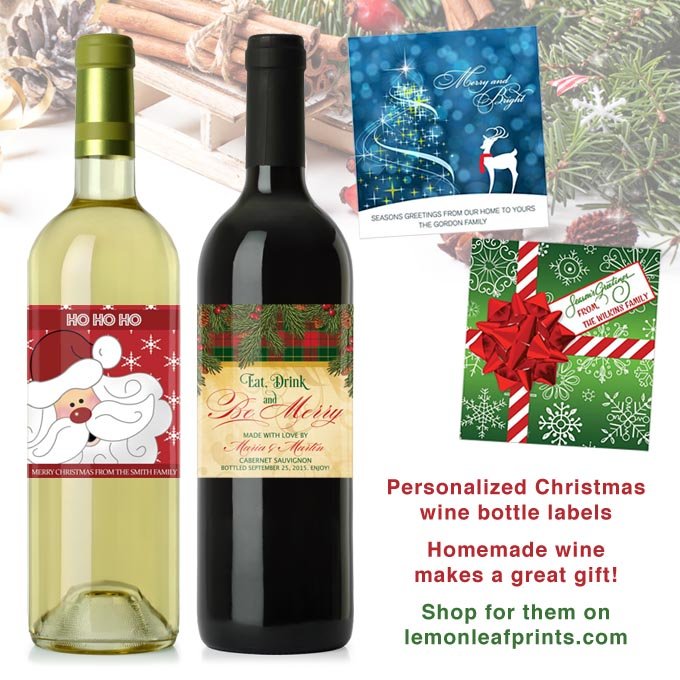 Personalized Christmas Wine Bottle Labels