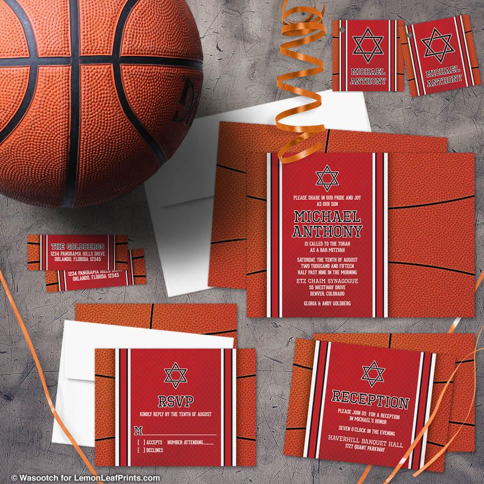 Basketball Bar Mitzvah Invitation Suites