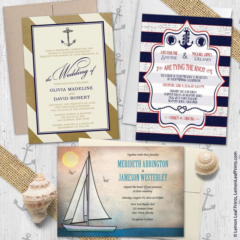 Sailing or nautical themed wedding invitations – Nautical Theme Wedding Invitations