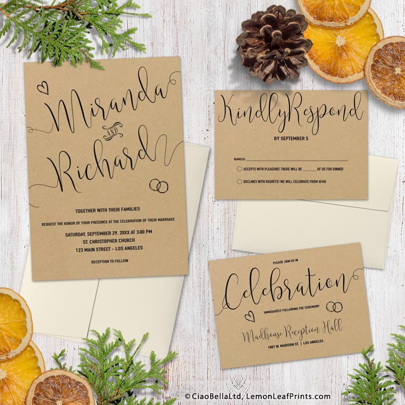 Trendy faux kraft paper whimsical typography wedding invitation set