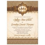 Rustic Monogram Burlap Lace Wood Emblem Wedding Invitation Front