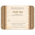 Rustic Monogram Burlap Lace Wood Emblem Wedding RSVP Card Front