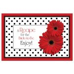 Bridal Shower Recipe Card Red Gerbera Daisy Polka Dot Front