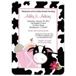 Pink Dairy Cow Baby Shower Invitation