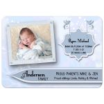 Elegant Blue Floral New Baby Birth Announcements