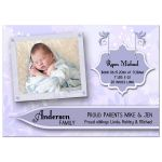 Elegant Lilac Floral New Baby Birth Announcements