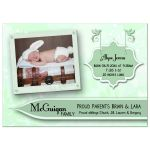 Elegant Mint Green Floral New Baby Birth Announcements