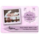 Elegant Pink Floral New Baby Birth Announcements