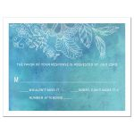 Wedding RSVP Card - Outlined Floral Blue Watercolor