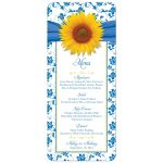 sunflower wedding menu yellow blue white damask front