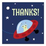 Cute favor thank you tag for children's parties with cartoon alien in spaceship.