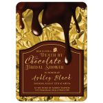 death by chocolate bridal shower invitation front gold brown