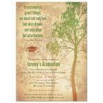 Rustic green and brown tree and quote college or university graduation party invitation front
