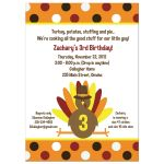 Thankgiving Turkey Birthday Invitation