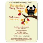 Autumn Owl Halloween Baby Shower Invitation