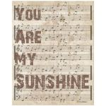 11x14 Wall Art Typography and Music - You Are My Sunshine