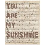 8x10 Wall Art Typography and Music - You Are My Sunshine