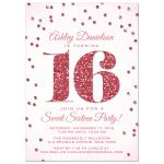 Pink Glitter Look Confetti Sweet 16 Party Invitations front
