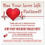 Valentine's Day Invitation with Red Heart and Heartbeat