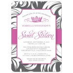 Hot Pink Fancy Crown Sweet 16 Party Invitations front