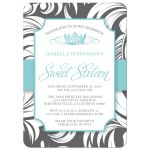 Turquoise Fancy Crown Sweet 16 Party Invitation front