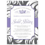 Purple Fancy Crown Sweet 16 Party Invitations front