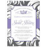 Purple Fancy Crown Sweet 16 Party Invitations front