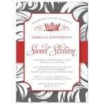 Red Fancy Crown Sweet 16 Party Invitations front