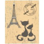 11x14 Whimsical Cats And Eiffel Tower Art Print