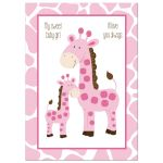 Pink Mommy and Baby Giraffe Wall Art