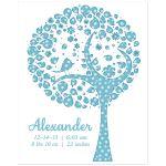 Blue Polka Dot New Baby Family Tree Art Print