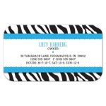 Business Card - Blue Ribbon Zebra Print