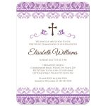 Cute, purple or violet damask border First communion invite for girls