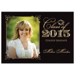Elegant black and gold photo graduation invitation
