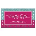Hot Pink Aqua Business Card template