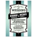 Wedding  Invitation - Retro Aqua Glitter Stripes