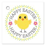 Cute chicken with pink flowers and polka for border Happy Easter gift or favor tag